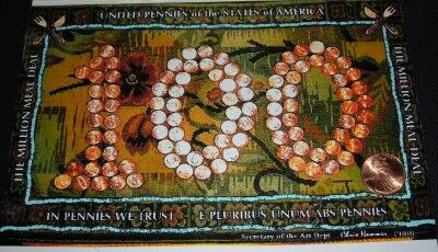100 Pennies United for Meals penny art