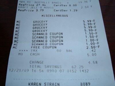 Safeway grocery receipt