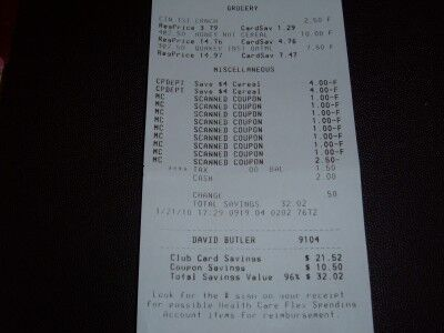 cereal and oats receipt