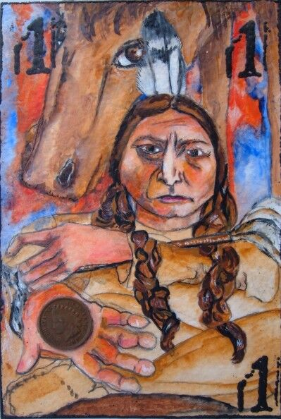 Sitting Bull penny postcard art
