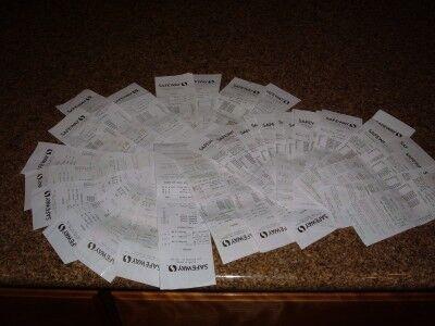 190 boxes receipts