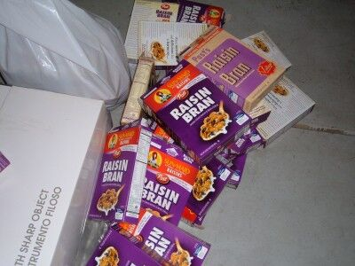 Raisin Bran boxes