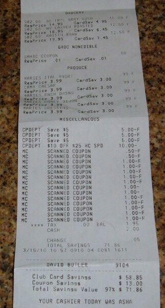 additional food receipt