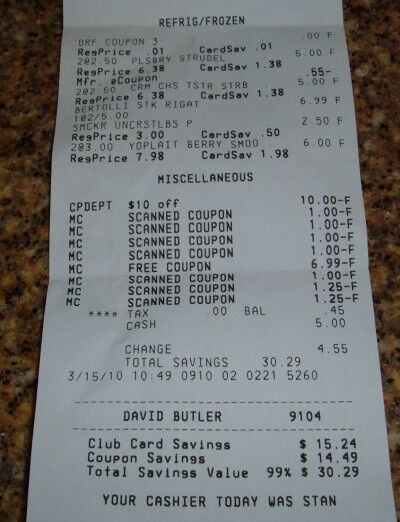 frozen food month receipt