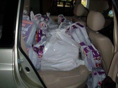 raisin bran boxes in car side