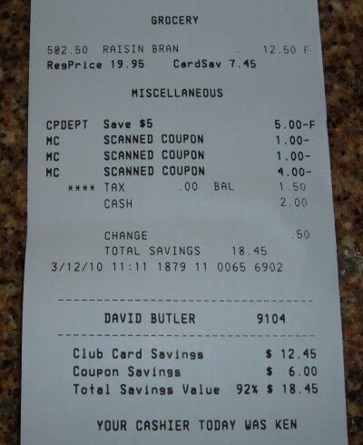 raisin bran receipt