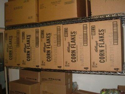 food bank cereal on shelves