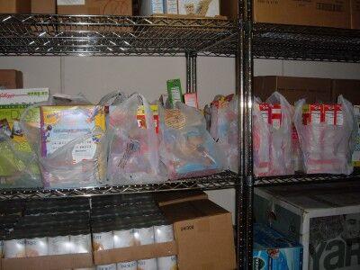 food bank food on shelves