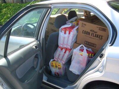 food bank trip car packed