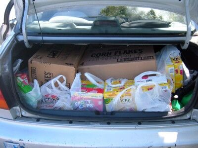 food bank trip car trunk