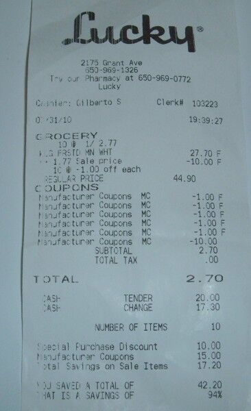lucky cereal receipt