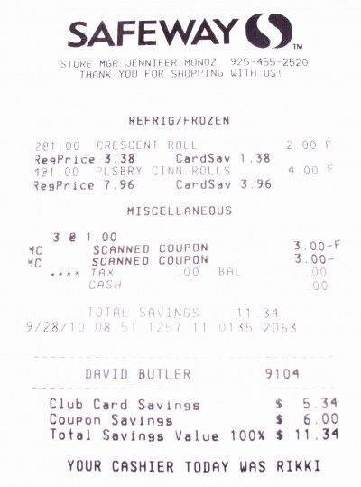 Pillsbury receipt