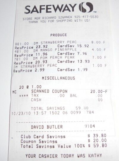 Safeway fruit smoothie receipt