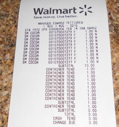 swiss miss hot chocolate walmart receipt