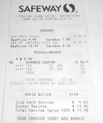 Free granola receipt